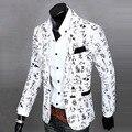 Pop Mens Casual chaquetas Traje de Impresión Slim Fit Manga Larga de Un Botón Blazers Capa de La Chaqueta 167