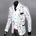 Pop Mens Casual jackets Suit Slim Fit Printing Long Sleeve One Button Blazers Coat Jacket 167