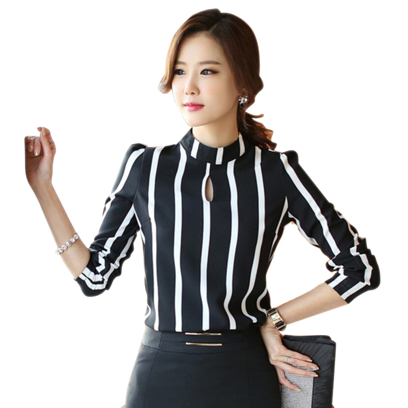 Buy 2016 Korean Style Fashion Ladies Long Sleeve Hollow Out Striped Blouse
