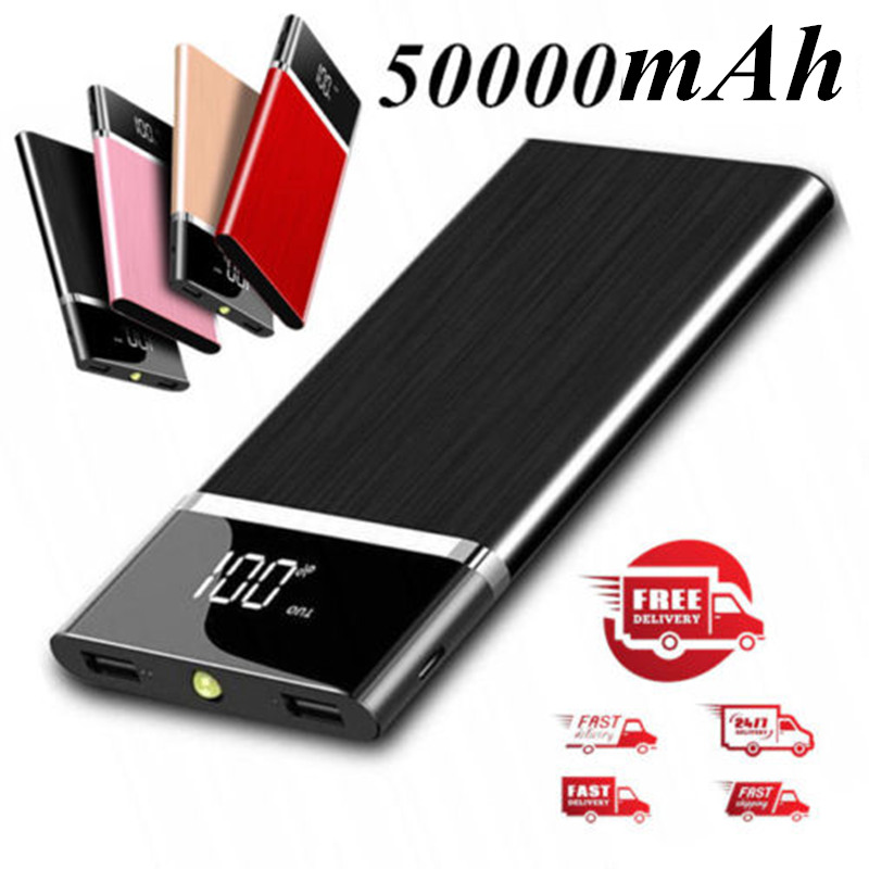 50000mAh Power Bank Charger External Battery Wired Charging Powerbank For IPhone Samsung Xiaomi Poverbank