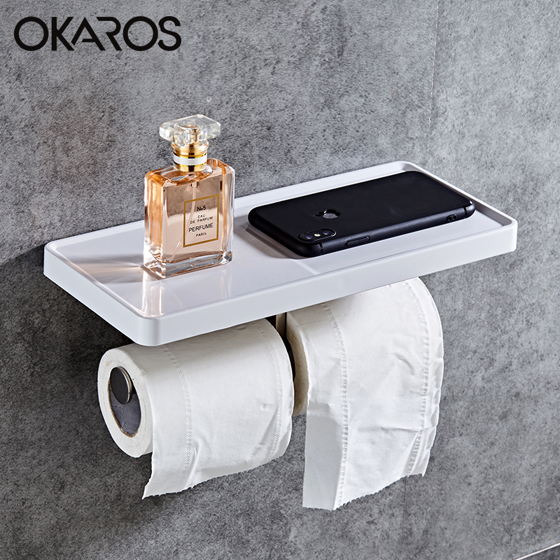 OKAROS  Toilet Paper Holder With Phone Shelf Towel Roll Rack Phone Shelf With Hooks Wall Mounted  Stainless Steel Toilet Paper
