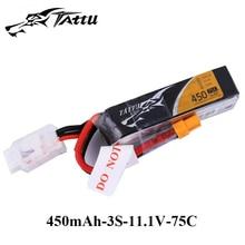 Ace литий-полимерный аккумулятор tattu 7,4 v 7,6 v 450mAh 1s 2s 3s 4S 75C 95C с разъемом XT30 большой размер RC батареи для 120 размера FPV Drone Frame