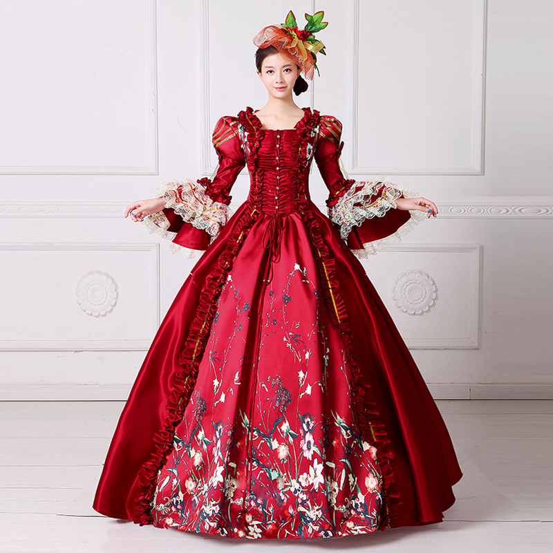 Victorian red dress costume outfit Medieval Renaissance Southern Belle Costumes Ball Gown red party medieval dress