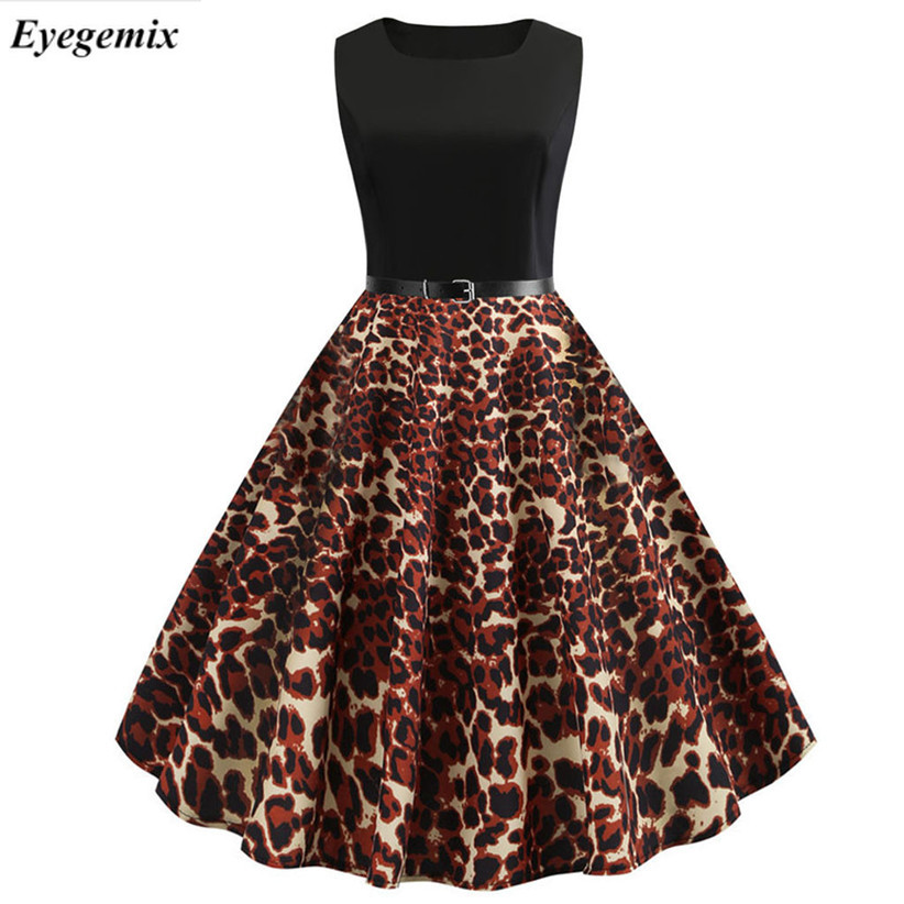 0cf209b24c Summer Dress 2019 Women Leopard Print Sexy Party Dress 50S 60S Sleeveless  Vintage Elegant Black Casual