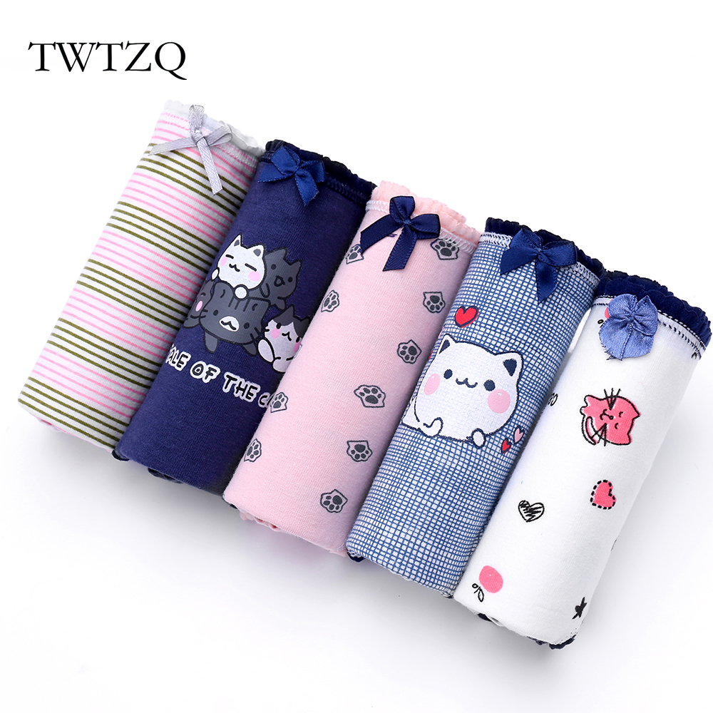 Buy TWTZQ 5Pcs/Lot Cats Panties Cute Underwear Women Panties Striped Cotton Girls Lovely Tanga Print Briefs Girl Lingerie 3NK077