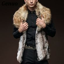 2018 Fashion Winter Jacket Men Fur Vest New Thick Coat Hoodie Sleeveless Faux Collar Outerwear Clothing Vests