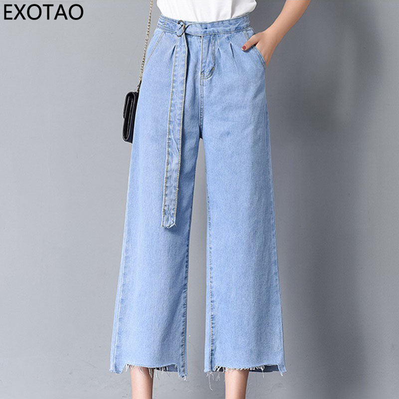 EXOTAO Hign Waist Denim Jeans Women Wide Leg Pants Feminina Casual Loose Solid Ladies Trousers Pockets Zipper Pantalones Mujer