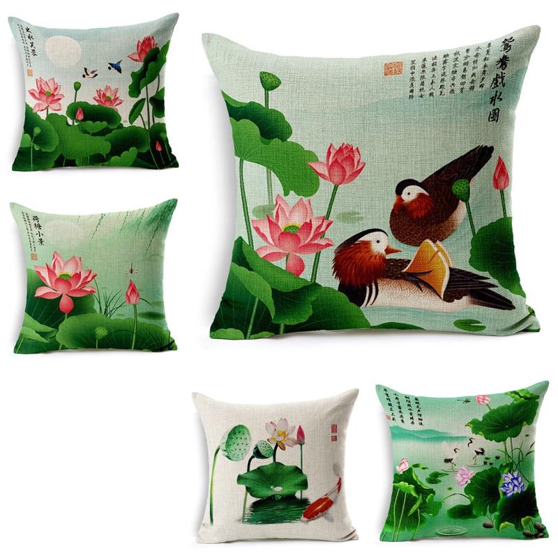 Home Textile Candid 45x45cm Decorative Throw Pillows Case Mandarin Duck Lotus Cotton Linen Cushion Cover For Sofa Home Funda Cojines