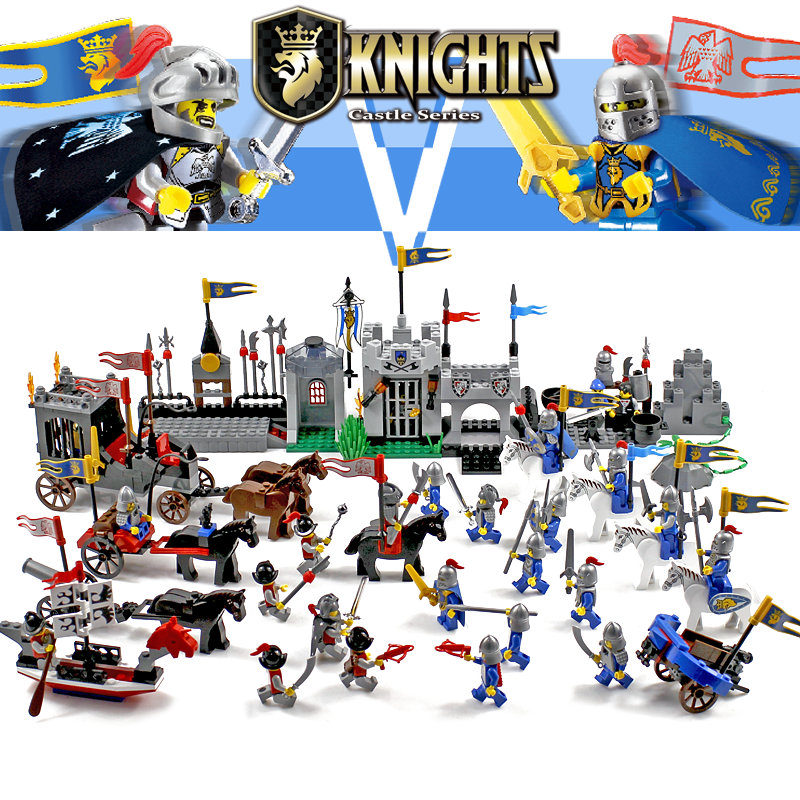 Enlighten Knights Educational Building Blocks Toys For Children Gifts Castle Knight Heros Weapon Boat Gun Horse Compatible Legoe цена