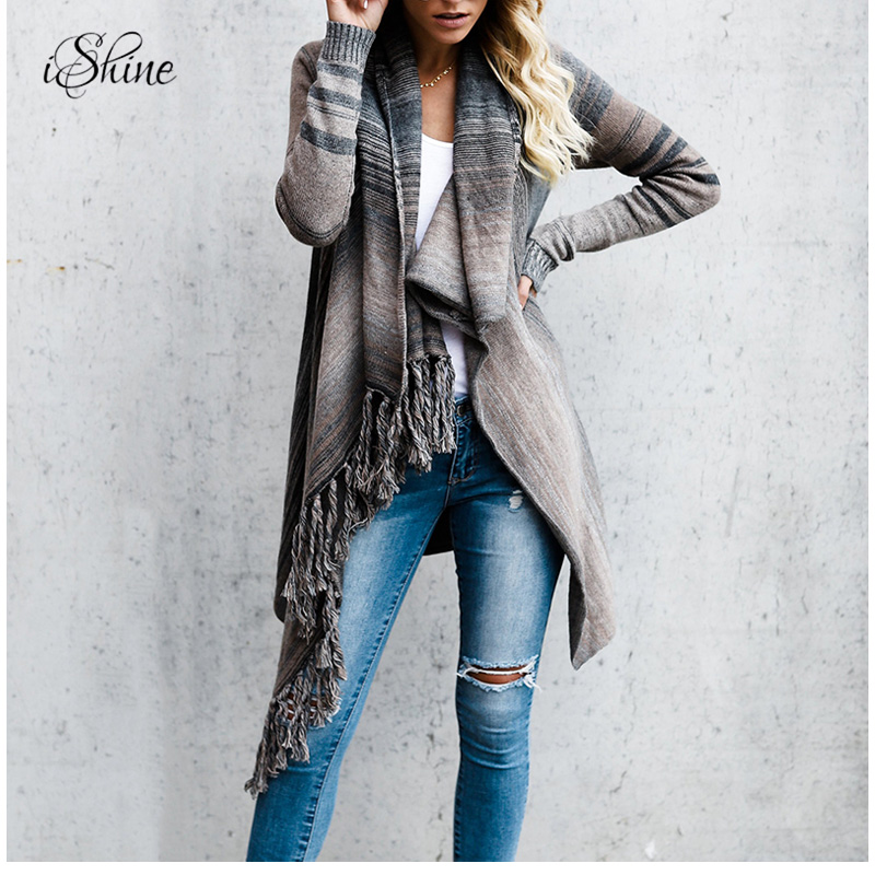 2018 Spring Knitted Cardigan Jacket Women Ladies Tassel Striped Irregular Cloak Cardigans Coats Irregular Oversized Sueter Tops