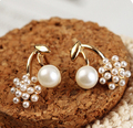 2015 New Korean Imitation Pearl brincos Exquisite Stitching Balls Cherry Stud Earrings For Women Christmas Gift E326