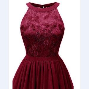 Image 3 - CD1645Z # Chiffon Halter Neck Spitze Rosa wein rot dunkelblau grün Violett Abendkleider kurze party prom kleid mädchen großhandel