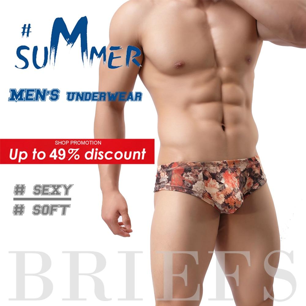 Underwear Mens Panties Boxer-Shorts Mini Floral-Printing Low-Rise Fashion Summer U-Pouch