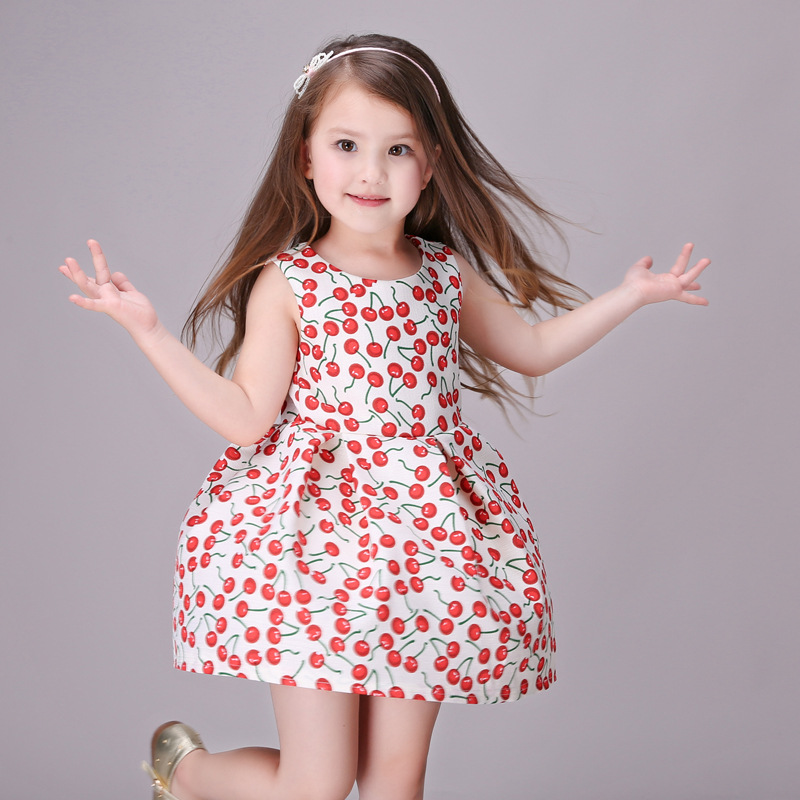 ФОТО girl dress with cherry pattern 2016 sleeveless party dresses kids vintage vest dress for wedding vestido robe fille