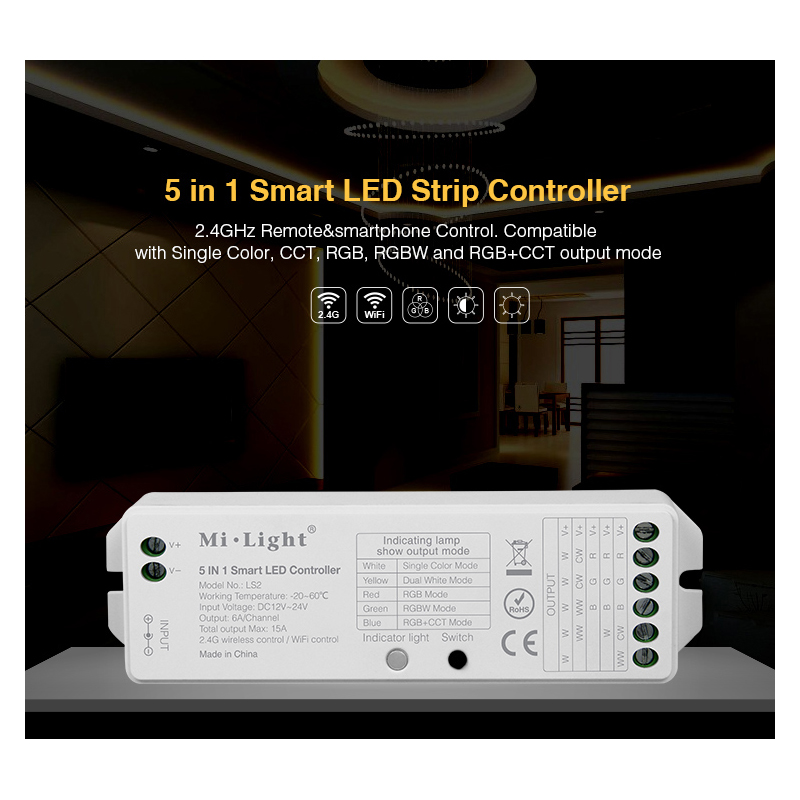 Image 5 - B8 Wall mounted Touch Panel;FUT089  8 Zone remote RF dimmer;LS2 5IN 1smart led controller for RGB+CCT led strip Miboxer-in RGB Controlers from Lights & Lighting