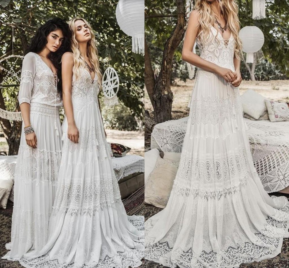 2019 Elegant Chiffon Lace Beach Boho Wedding Dresses Modest Vintage Crochet Lace V-neck Holiday Country Bridal Gowns