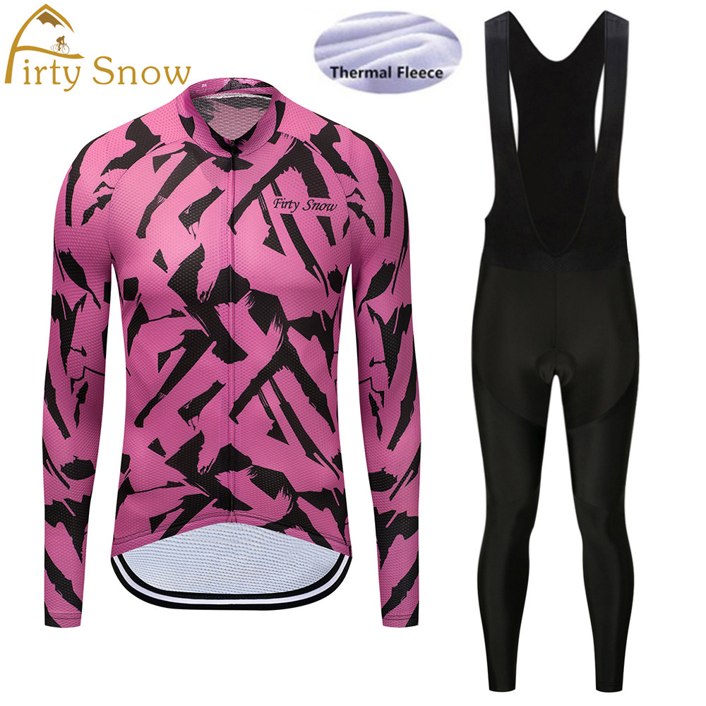 2018 Firty Snow Winter Thermal Fleece Cycling Jersey Long Sleeve Jerseys Cycling Bib Pants Set Bike Bicycle Cycling Clothes-066