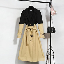 New Spring Product Yang Power Star with The Same Style Stitching Long Windbreaker Fashion Collision Color Waist Jacket Women