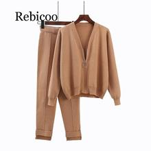 Rebicoo 2019 autumn new 2 piece set ladies sports suit knit cardigan + trousers sportswear womens