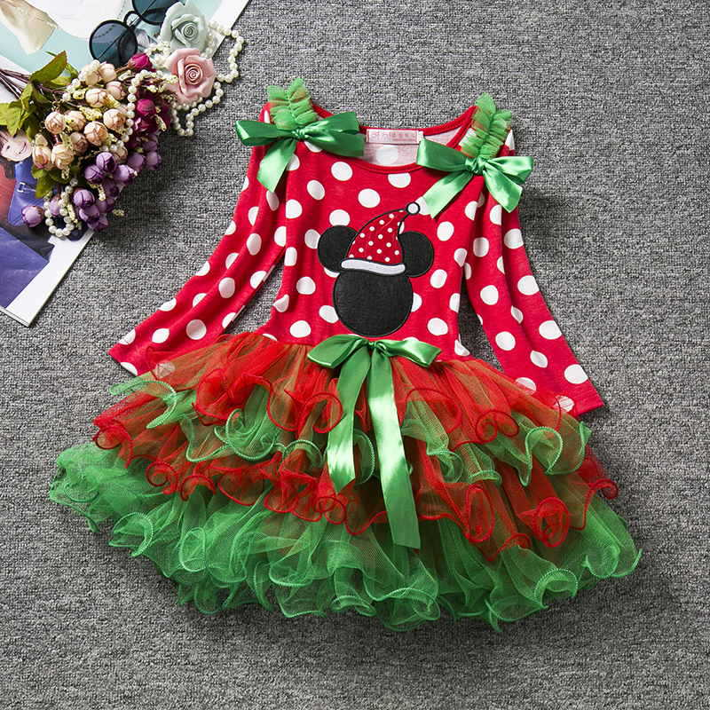 U-SWEAR 2019 New Arrival Christmas Kid   Flower     Girl     Dresses   Red Green Color Block Dot Ruffles Lovely   Girl     Dresses   Vestidos