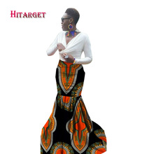Hitarget African Print Skirt Fashions Women Clothing Long Skirts Mermaid Maxi Plus Size WY1519