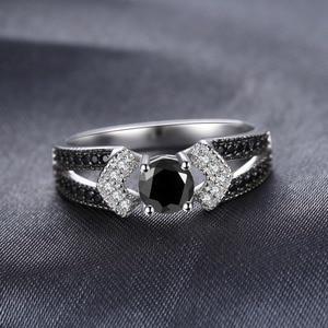 Image 3 - JewelryPalace 정품 블랙 스피넬 반지 여성을위한 925 스털링 실버 반지 약혼 반지 실버 925 보석 파인 쥬얼리