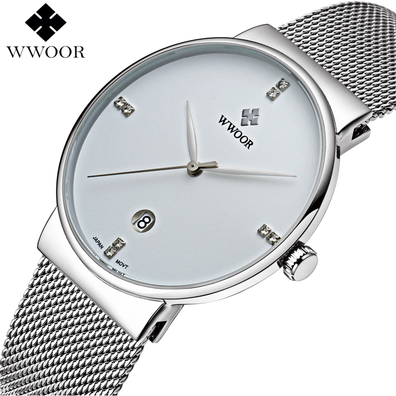 Luxury Brand Slim Waterproof Quartz Watch Men Sports Watches Male Analog Clock Silver Steel Strap Casual Watch relogio masculino weide casual genuine watch luxury brand quartz sport watches stainless steel analog men larm clock relogio masculino schocker