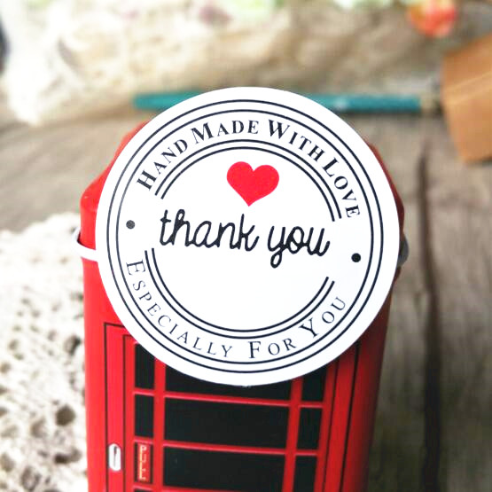 "100PCS ""Thank you"" Round White Kraft Stationery label sticker DIY Retro Seal sticker For products handmade with Love"