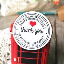 Купить онлайн 100 шт. «спасибо» круглый белый kraft канцелярские этикетки наклейки DIY ретро печать наклейка для ручной работы продукты с любовь