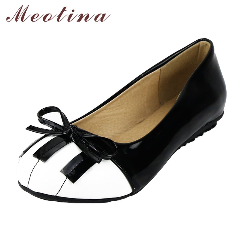 Meotina Shoes Women Fashion Fats Comfort Causal Shoes Piano Bow Boat Shoes Ladies Basic Flat Footwear