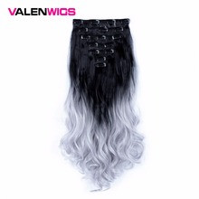 Valenwigs Wavy Synthetic Hair Clip in Extensions 7 Pieces/set 22 130g Gradient Omber Color Womens Hairpieces Fiber
