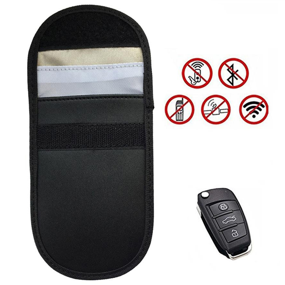 1pc/2pcs PU Leather Portable Signal Blocker Car Key Case With Hook Buckle Faraday Cage Keyless Entry Fob Pouch RFID Blocking Bag