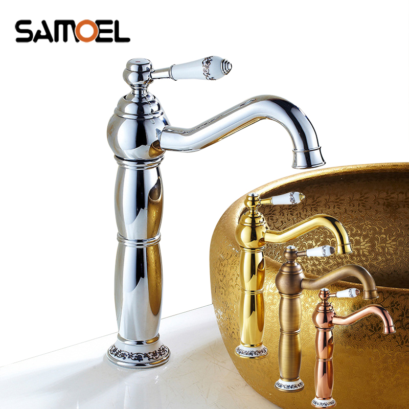 Samoel moderne en laiton pont montage salle de bains évier mélangeurs or rose lavabo robinets avec poignée en céramique 1200C