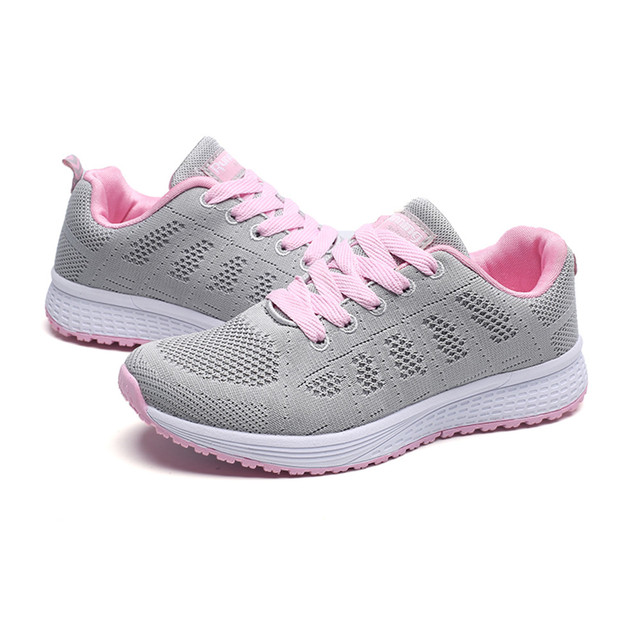 Sneakers Women Sport Shoes Lace-Up Beginner Rubber Fashion Mesh Round Cross Straps Flat Sneakers Running Shoes Casual Shoes 3