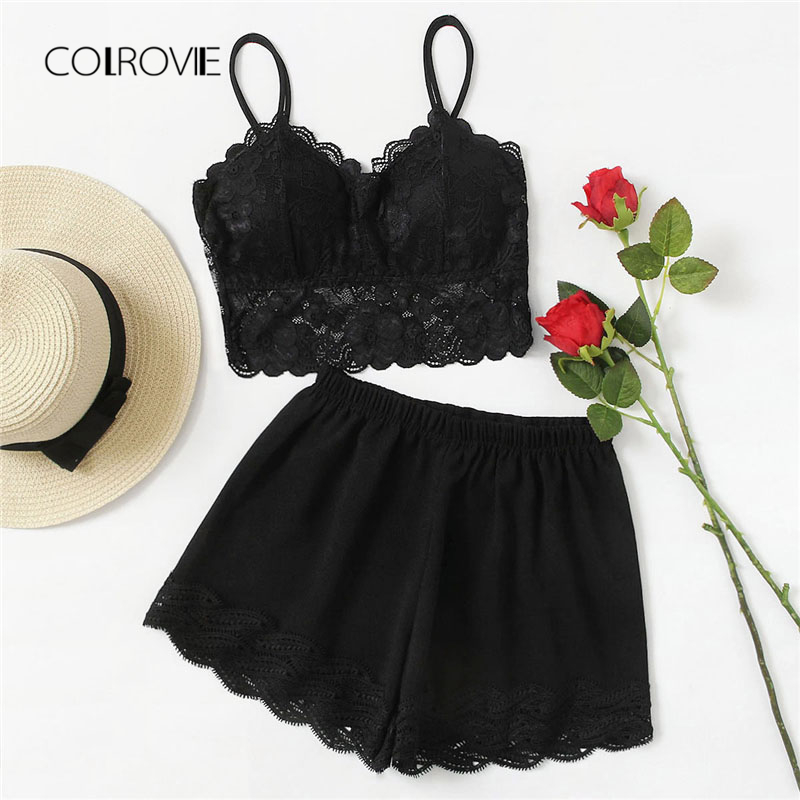 COLROVIE Scallop Trim Lace Contrast Pajama Set 2018 New Fashion Plain Sexy Woman Sleepwear Black Sleeveless Two Piece Set