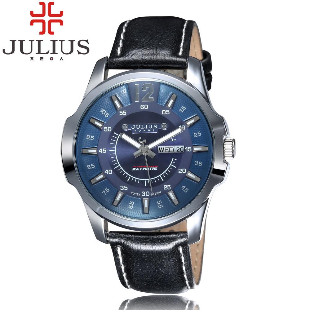 Prix pour 2017 julius sport hommes montre à quartz marque militaire montre horloge or calendrier semaine en cuir homme montre-bracelet heure relogio masculino