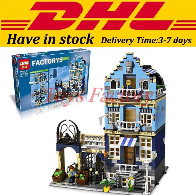 ФОТО DHL Lepin 15007 Factory City Street European Market Model Building Block Set Bricks Kits Set DIY Clone 10190