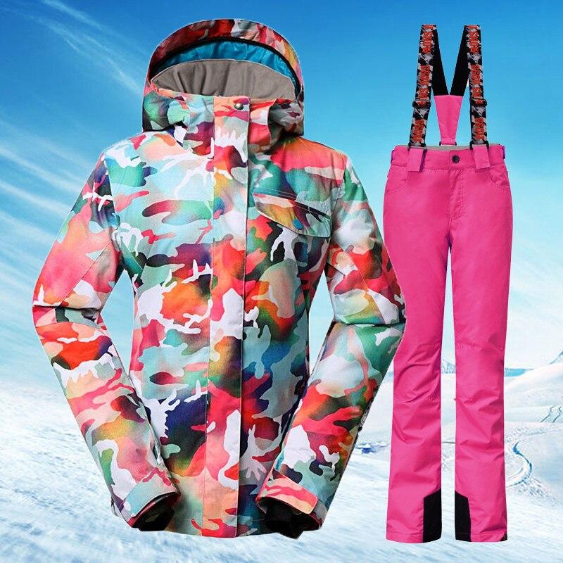 Prix pour Gsou Snow Femmes combinaison de ski veste de ski + pantalon ensembles étanche Snowboard ski vêtements sports de Plein Air thermique vêtements chauds