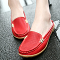 2016 Leisure slippers genuine leather women wedges breathable sandals slip-on round toe summer shoes woman comfortable sandals