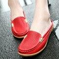 2016 lazer chinelos de couro genuíno mulheres cunhas respirável sandálias slip on dedo do pé redondo sapatos de verão mulher sandálias confortáveis