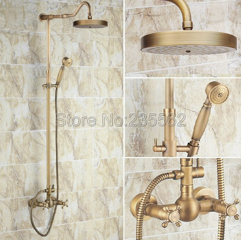Dual Handle Rain Shower Faucet Set Bathroom Rainfall Mixer Tap Antique Brass Finish with Handheld Shower Heads lrs132