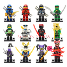 2018 NEW Hot 12PCS Compatible LegoINGlys NinjagoINGlys Red Kaijie Mask Hatred Samurai purple mask Mr Weapons NINJA Figure Blocks