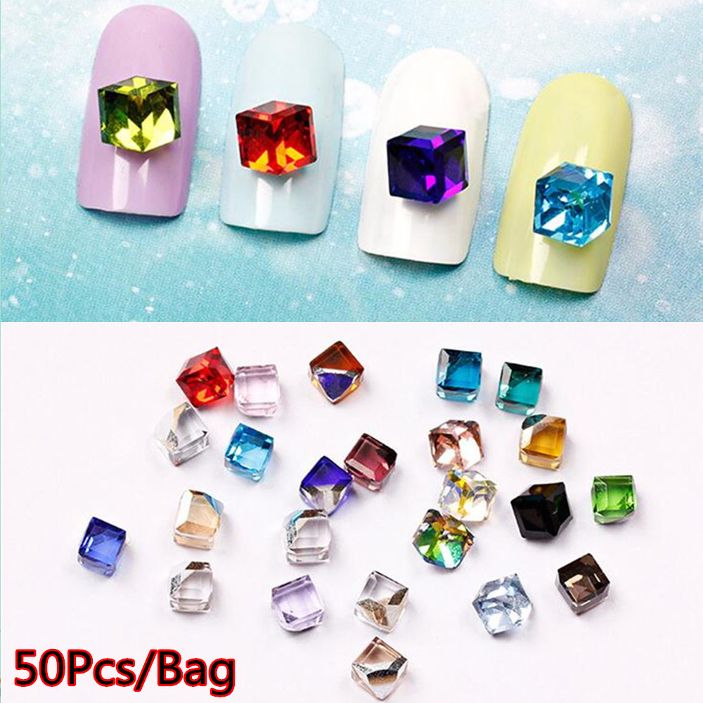 50 stücke 3d Cube Diamant Design False Nails Strass Kristall Strass ...