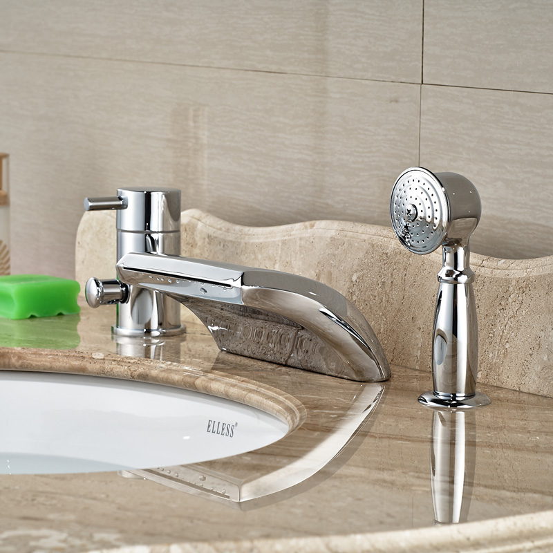 Creative Design Waterfall Curve Spout Bathroom Roman Tub Faucet Pcs - Bathroom faucets cheap price