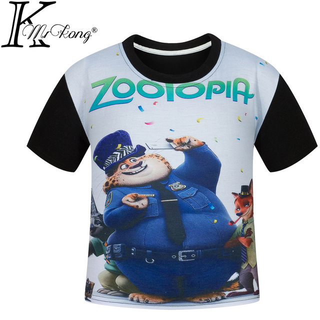 New 2017 Summer Kids Fashion Baby Girl Shirts For Boys Tshirt Cotton Zootopia Boys t-Shirt Kids Girl Tops Tee Boy Clothes