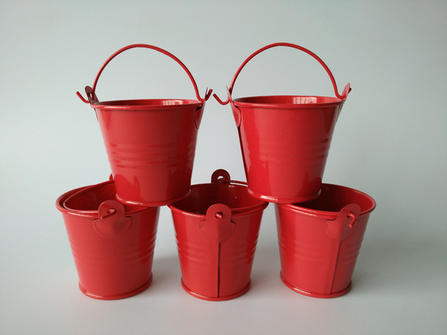 100pcslot Wholesale Metal Tin Pail For Party Mini Buckets Hot Red