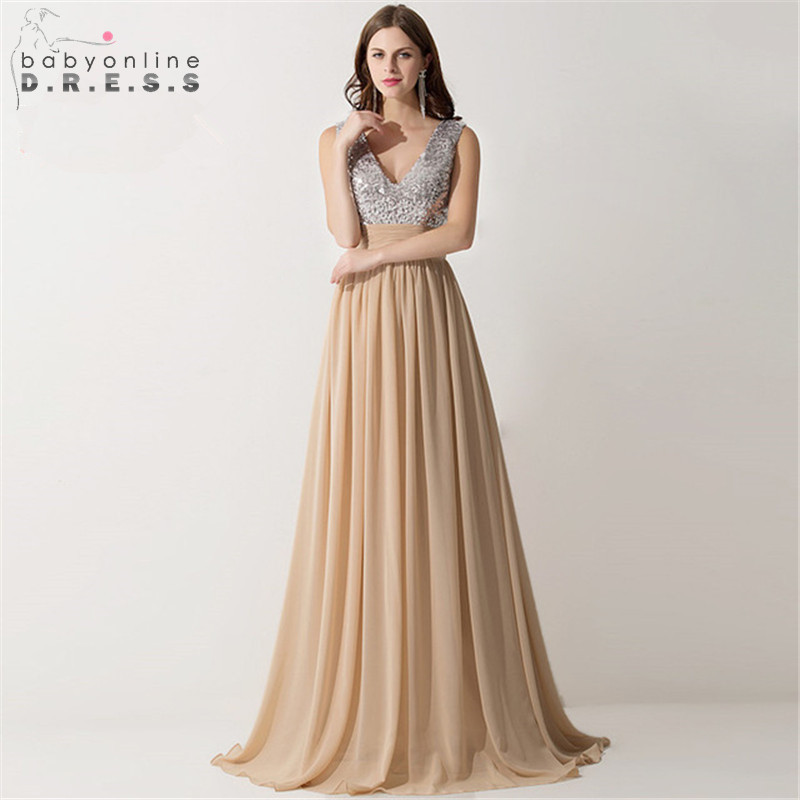 Vestido Madrinha Sexy V Neck Champagne Chiffon   Bridesmaid     Dresses   Reflective   Dress   for Wedding Party Robe Demoiselle D'honneur