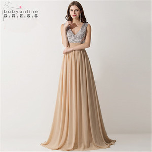 Image 1 - Vestido Madrinha Sexy V Neck szampana szyfonowe suknie dla druhen odblaskowa sukienka na ślub szata na imprezę Demoiselle Dhonneur