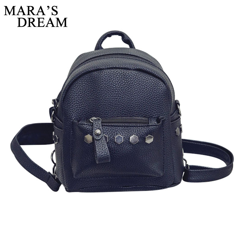 Mara's Dream Women Backpack Fashion PU Leather Rivet Backpack Teenager Girls Studded School Bag Zipper Bolsas Mochila Feminina tropical print flounce off shoulder wide leg jumpsuit