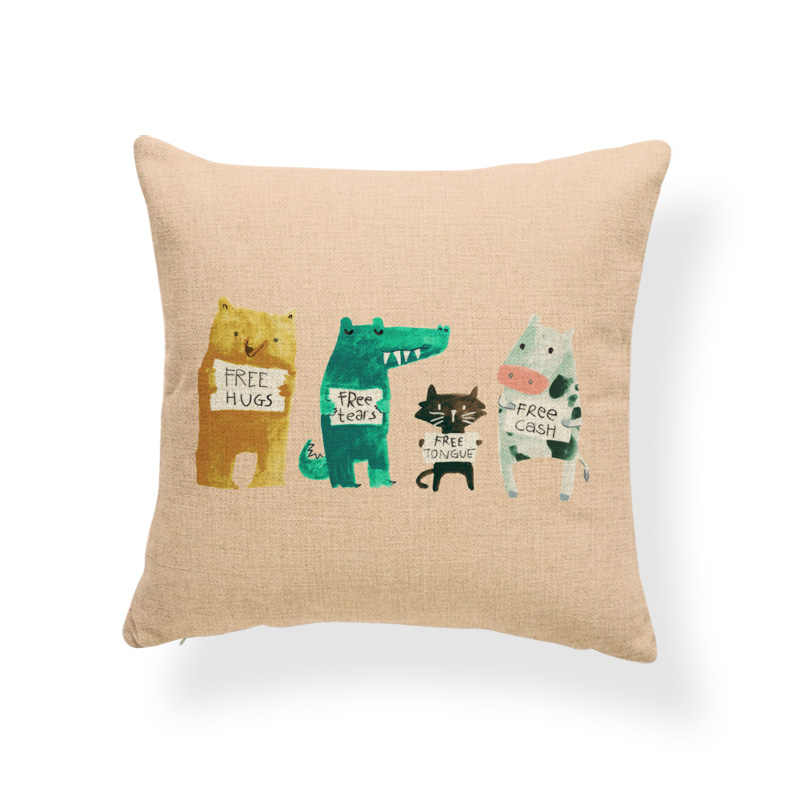 Animal Cushion Case Idioms Pillows Dinosaur Living Room Home Decor Throw  Cushion Covers Llama Goddess Polar bear 2018 New Hot